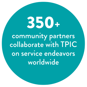 350+ community partners collaborate with TPIC on service endeavors worldwide